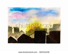 Sunrise in the city. The urban landscape with sky, sun and roofs. Watercolor illustration