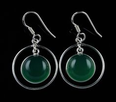 925 Sterling Silver Natural Green Onyx Gemstone Handmade Earrings Jewelry #Handmade #DropDangle #Party