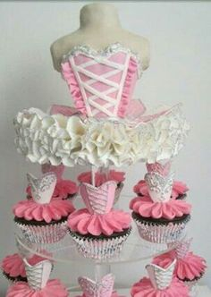Ballerina Cupcakes Tower for bridal party or wedding