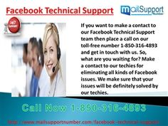 When can I take Facebook Technical Support 1-850-316-4893? You can take Facebook Technical Support at anytime as our tech support executives work 24/7/365 days only for giving you a cent-percent solution for your Facebook problems. So, what are you waiting for? Make a call on our number 1-850-316-4893 which doesn't take a single charge from you and get in touch with our techies.