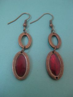 Vintage oval red stainedglass window copper by AntiquesNejadStyle, $7.50