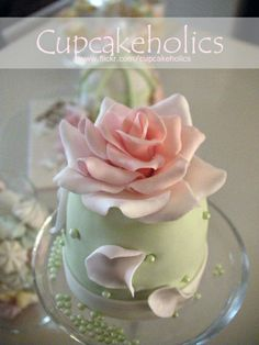 Pretty pastel Green & Pink Rose Topper & falling Petals Mini Cake