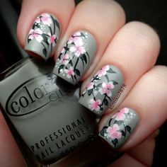 Pale pink floral Nail Art on a gray background! Hand Painted by Kim Instagram photo by @Kim Oak-Topolnitsky via ink361.com