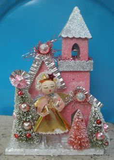 Vintage Style Pink Glitter house RESERVED FOR  ELMA by MagpieEthel