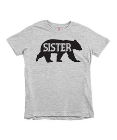 Heather Gray 'Sister' Bear Tee - Infant Toddler & Girls