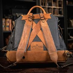 Yosemite Vintage Rucksack - Waxed Canvas & Leather Army Backpack Bag