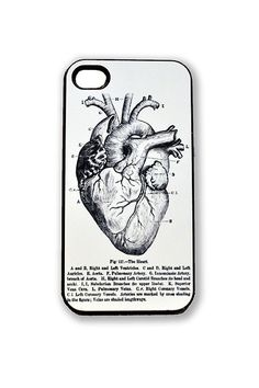 mobile phone cover with anatomical drawing of the heart