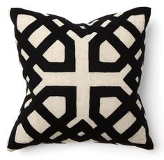 Khwai Applique Black Throw Pillows