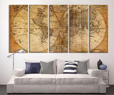 Oversized Canvas Art Prints - Vintage World Map Canvas Print, X Large Art Vintage World Map, Extra Large Brawn Old World Map Print Large Art Prints, Large Canvas Wall Art, Extra Large Wall Art, Canvas Art Prints, Wall Prints, World Map Art, World Map Canvas, Wall Art Designs, Wall Design