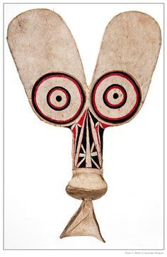 Baining mendaska mask, from Papua New Guinea, barkcloth, bamboo, red and black natural dyes.