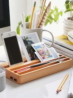 Wooden Charging Station with Two USB Ports and Integrated Desk Organizer