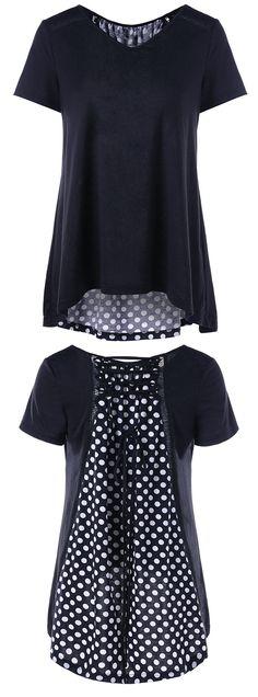 Lace Up Polka Dot High Low T-Shirt