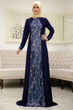 Som Fashion Lacivert Damla Tesettür Abiye Elbise
