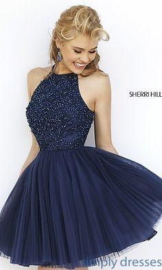 Short High Neck Babydoll Dress by Sherri Hill at SimplyDresses.com