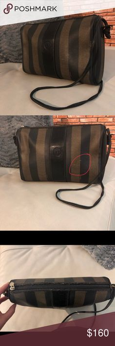 """😍Vintage Fendi Purse Vintage Fendi • penguin strips • no tears or stains inside • has small scuff (circled in pic ) top zipper and strap shows some wear • measures 11"""" across and 8"""" down • perfect go to bag • very roomy and very cute !   Make an offer ! Fendi Bags Crossbody Bags"""