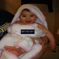 Baby's first bath: Top tips for bathing baby and our first parenting 'win' Baby Family, Family Life, Babys First Bath, Parenting Win, Kids Health, Bath Time, Bathing, Daughter, Babies