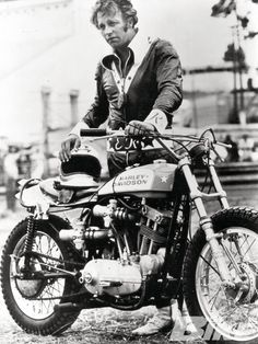 Evel Knievel with his Harley