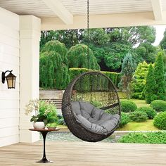LexMod   Hide Outdoor Patio Swing Chair Without Stand In Gray