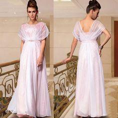 White Colored Boho Dolman Sleeve Simple Beach Wedding Party Ball Dress SKU-122715