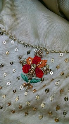 Beaded Embroidery Patterns Stitching In The Pursuit Of Happiness Ny City Tambour Embroidery Class. Zardozi Embroidery, Hand Embroidery Dress, Kurti Embroidery Design, Tambour Embroidery, Hand Embroidery Videos, Bead Embroidery Patterns, Embroidery Fashion, Embroidery Kits, Handmade Embroidery Designs