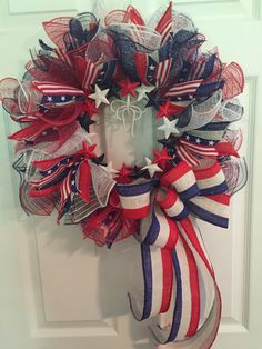 Patriotic Wreath, Fourth of July Wreath, Memorial Day Wreath, wreath, Deco mesh Wreath, red white and Blue Wreath, Anytime Wreath by RoesWreaths on Etsy https://www.etsy.com/listing/238016367/patriotic-wreath-fourth-of-july-wreath