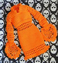 Halloween dress for 16-inch fashion doll (crochet pattern)