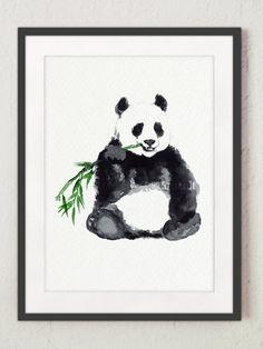 Panda Watercolor Animal Print Bear Painting by ColorWatercolor