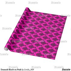 Damask Black on Pink Wrapping Paper