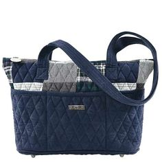 Kingsbury Taylor - The Taylor from our Kingsbury Collection comes in a sophisticated patchwork of navy and gray plaids and tweeds with chic navy microsuede accents on the trim, base and strap. Measuring 11x3.5x8.25