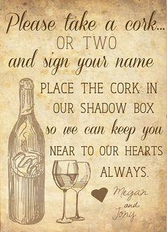 "Custom"" Please Sign a Wine Cork"" Guest Book Sign by BellfreyDesigns on Etsy $12.00 #BellfreyDesigns"