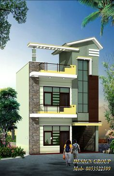 70 Ideas House Plans Mansion Front Elevation For 2019 Duplex House Design, House Front Design, Modern House Design, Independent House, Front Elevation Designs, House Elevation, Building Elevation, House Plans Mansion, House Floor Plans