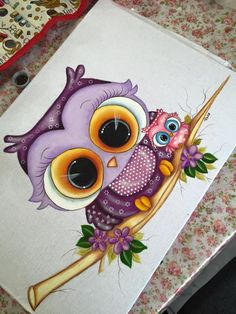 Pintura tels                                                                                                                                                                                 Más Pintura Country, Tole Painting, Fabric Painting, Owl Always Love You, Country Paintings, Arte Popular, Owl Art, Cute Owl, Painting For Kids