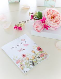 Craftberry Bush | Floral Gift Topper and Watercolor Mother's Day Card printable | http://www.craftberrybush.com