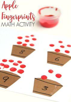 Fingerprint Apple Counting Activity for Preschoolers