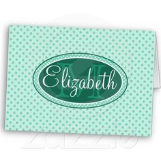 Mint Green Polka Dot Monogram Pattern Greeting Cards