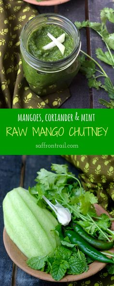 Recipe for Raw Mango Chutney made with green mangoes, coriander and mint - A delicious condiment, perfect for chutney sandwiches, to be enjoyed while the season lasts. Mango Recipes, Raw Food Recipes, Indian Food Recipes, Vegetarian Recipes, Cooking Recipes, Green Chutney Recipe, Chutney Recipes, Chutney Sandwich, Pesto