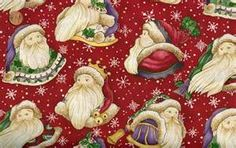 CHRISTMAS SPIRIT' SANTAS ON RED FABRIC - DIANE KNOTT Christmas Fabric, Red Fabric, Sewing Projects, Santa, Birthday, Flags, Etsy, Spirit, Red Weave