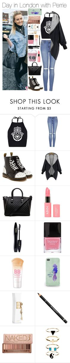 """""""Day in London with Perrie"""" by xhoneymoonavenuex ❤ liked on Polyvore featuring Boohoo, Topshop, Dr. Martens, 2b bebe, NYX, Lancôme, Butter London, Maybelline, Justin Bieber and Givenchy"""