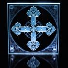 Etched art glass celtic inspired spiral cross - edge lit.  This layered glass was sandblasted with a design on both sides of the glass to give a 3d effect as with most of my glass images.  @ImaginedGlass