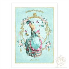 Marie Antoinette, Art Print, Collage, Tea Party, Pink Macarons, Blue, White Roses, Birds, Butterflies, Giclee via Etsy