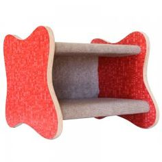 """Googie Cat Bed - NEW!!! Shown in Red Ellipse, Tan Carpeting. The design is retro and take you back to 1950's postwar America. With its two bold amoeba-shaped walls, this cat bed will make you smile every time you look at it.   Sheathed in carpet made of 100% post consumer recycled bottles and padded inside.  This great cat furniture can also be used by senior cats as a """"stepping stool"""" for reaching higher places."""
