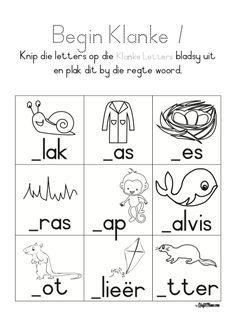 1st Grade Worksheets, Preschool Worksheets, Afrikaans Language, Basson, Sound Words, Teachers Aide, Alphabet For Kids, Basic Math, Kids Learning Activities
