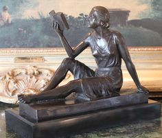 Woman Reading Book Librarian Library Art Bronze Marble Statue Reading Room Gift