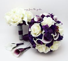 Purple Wedding Package Picasso Callas Roses Purple Hydrangea Rose Bridal Bouquet Grooms Boutonniere Bridesmaid Bouquet