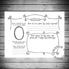 I can make this too. scrapbook pages for your guests to fill out. You can put any questions you want on them.