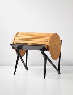 Carlo Mollino; Unique Maple, Lacquered Oak and Brass Rolltop Desk by Apelli & Varesio, 1949,