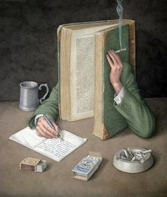 Jonathan Wolstenholme's Charming Paintings of Vintage Books That Smoke, Drink, and Slip on Banana Peels