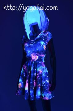 UV Glow Galaxy Print Hoodie Cap Sleeve Fit and Flare Skater Skate Dress w/Black Zen Hood Liner Rave Festival Clubwear – 154477 UV Glow Galaxy Print Hoodie Cap Sleeve Fit and by CoquetryClothing Teen Fashion Outfits, Outfits For Teens, Girl Outfits, Fashion Dresses, Gothic Fashion, Style Fashion, Women's Dresses, Pretty Dresses, Beautiful Dresses