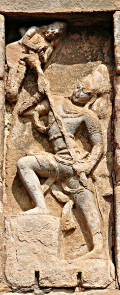 """Lord Shiva Kills Andhak. "" Virupaksha Temple. Pattadakal. Chalukya Dynasty. 8th Century CE. Karnataka, India."
