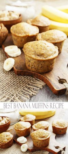 This easy muffin recipe is so simple to bake that is is a perfect for those who have little to no experience in the kitchen. These moist muffins are a great breakfast recipe, but they also make nice after school snacks. Best Banana Muffin Recipe, Simple Muffin Recipe, Banana Bread Muffins, Breakfast Muffins, Mini Muffins, Fodmap Breakfast, Banana Recipes No Baking Soda, Banana Recipes For Kids, Simple Recipes For Kids